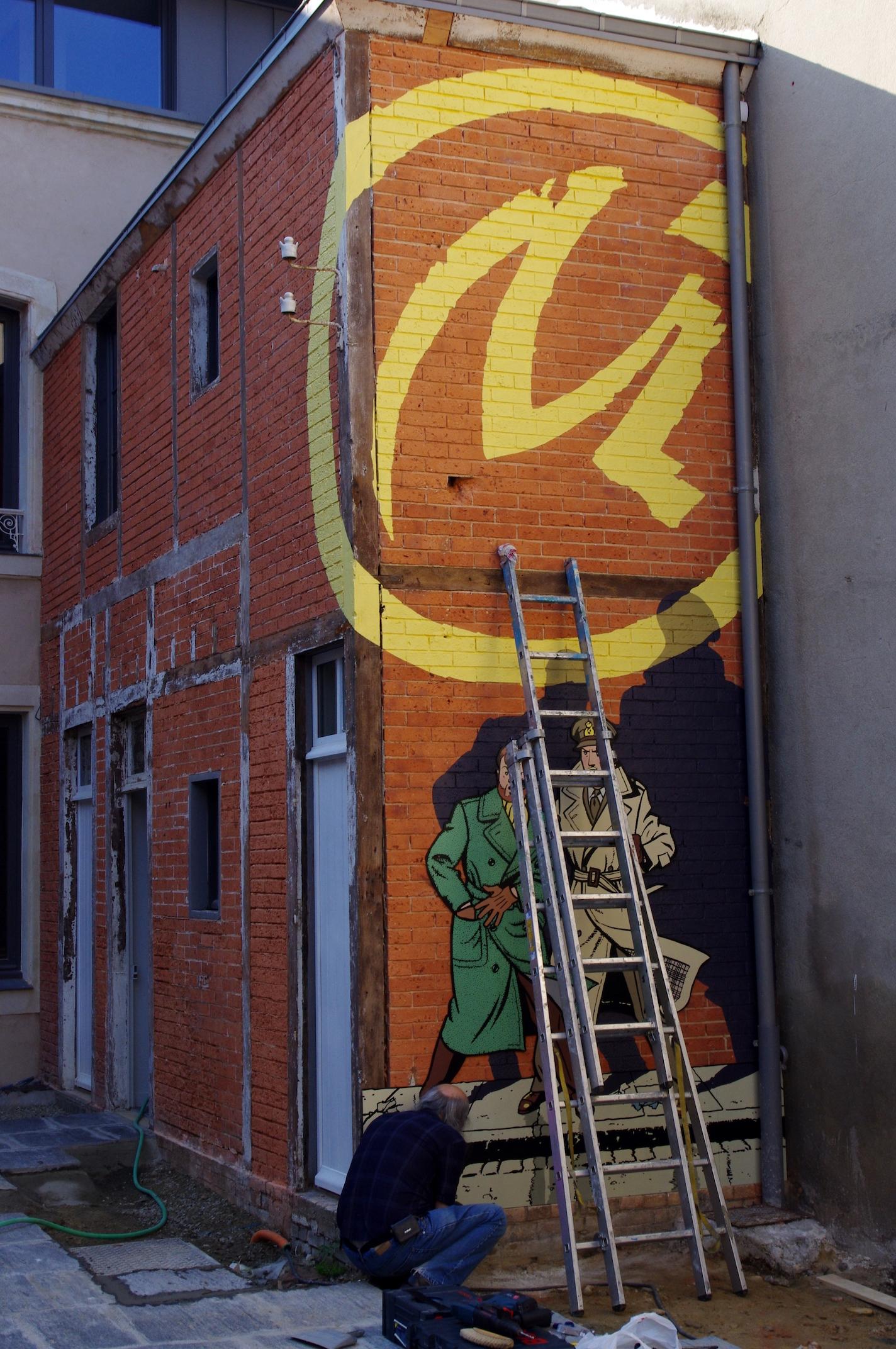 AOUT 2013 FRESQUE BLAKE ET MORTIMER PAR ART MURAL BRUXELLES
