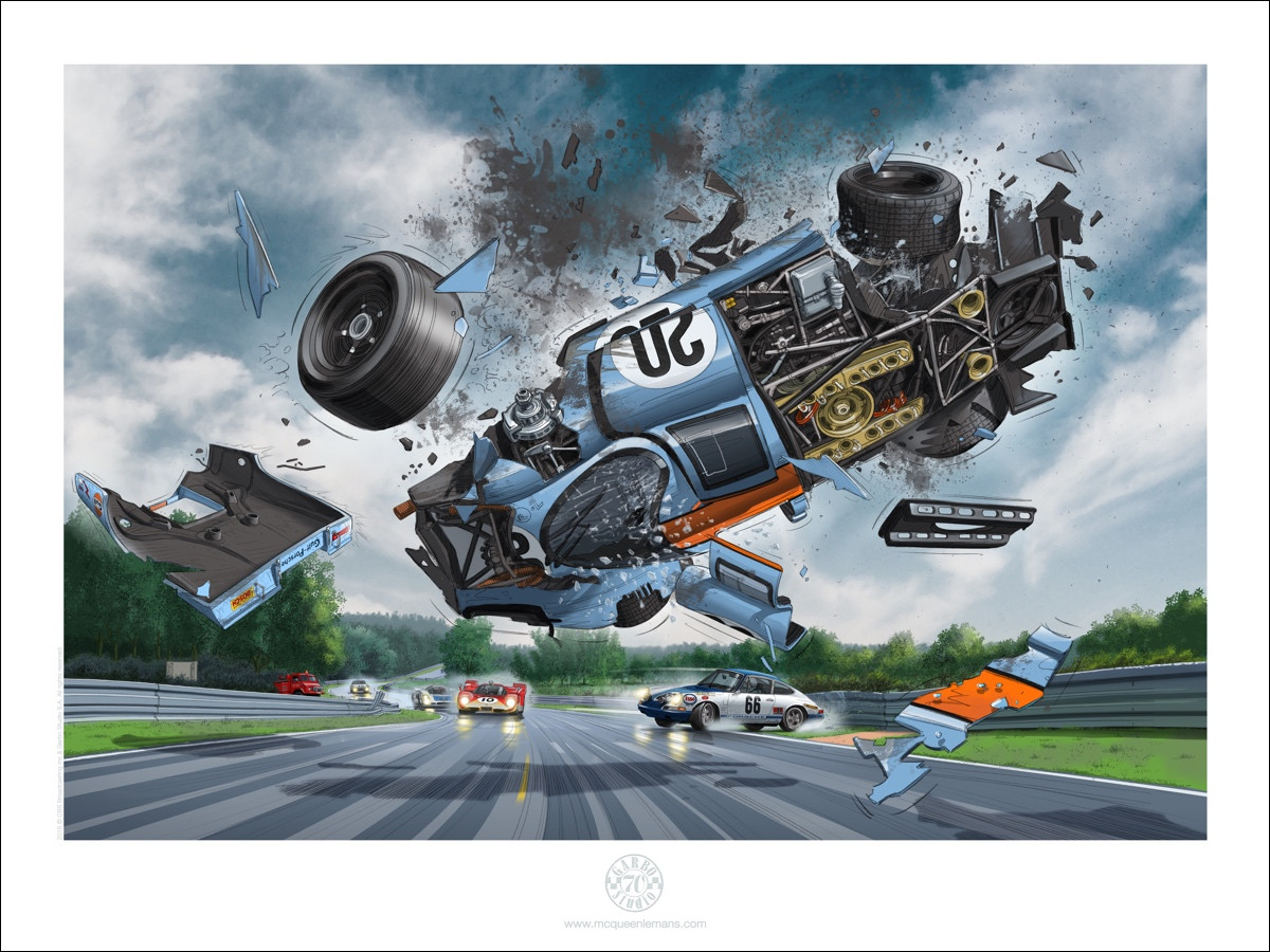PORSCHE #20 FLYING IN THE AIR 60 x 80 cm  60 EUR