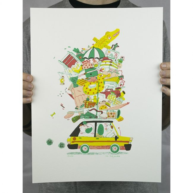 RIGAUDIE CAMPING SAUVAGE SERIGRAPHIE 30x40cm 30EUR