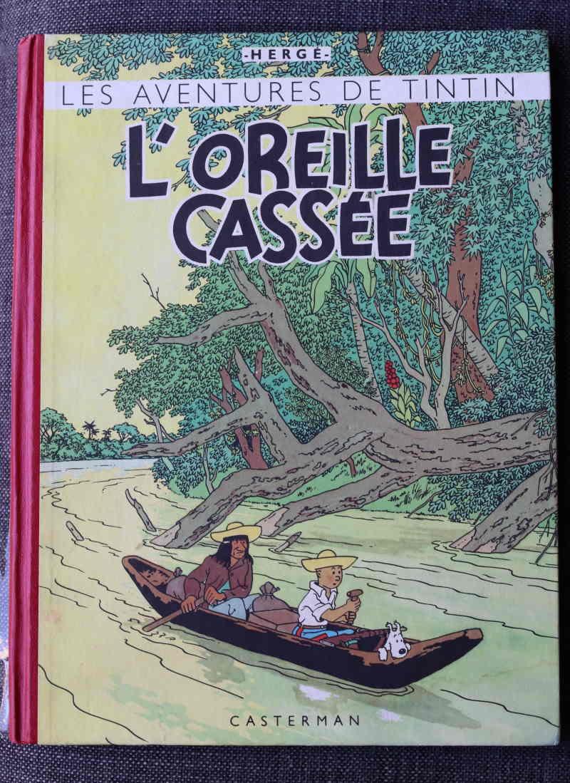 TINTIN L'OREILLE CASSÉE Dos Rouge – 2ème plat B4 – 1950 – Très bon état – 550€