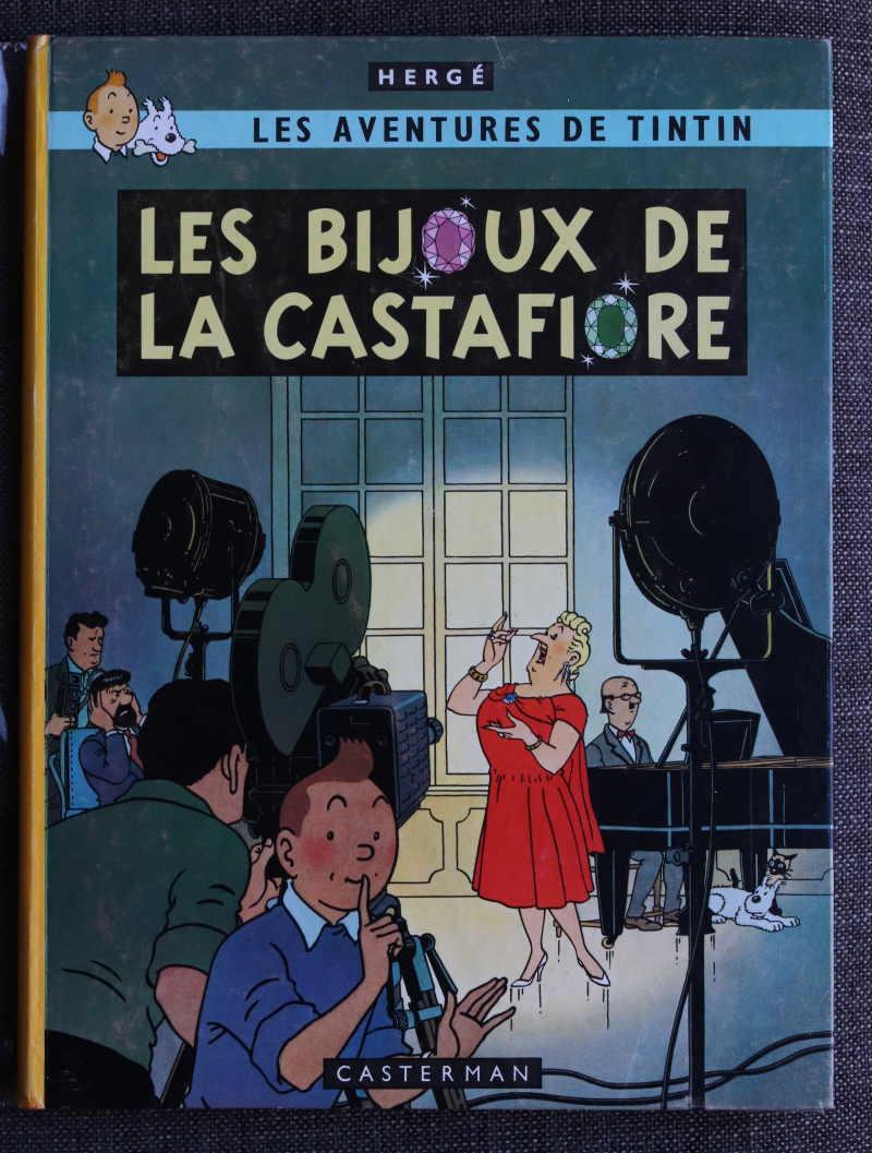 TINTIN LES BIJOUX DE LA CASTAFIORE Dos jaune – 2ème plat B34 – 1963 – Edition Originale Belge – Très bon état – 450€