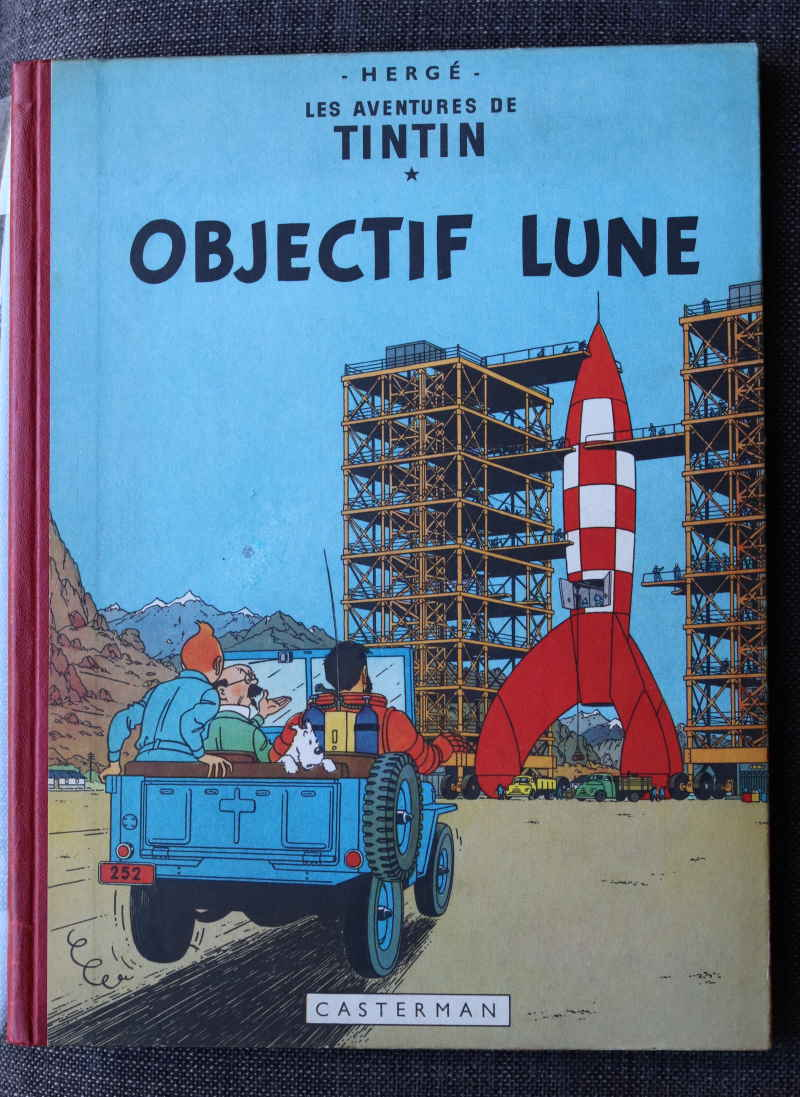 TINTIN OBJECTIF LUNE Dos Rouge – 2ème plat B8 – 1953 – Edition Originale Française – Très bon état – 750€